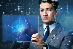 The businessman in artificial intelligence concept. Businessman in artificial intelligence concept Stock Photos