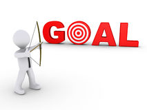 Businessman as archer aiming at a goal target. 3d businessman as an archer is aiming at a red goal target Royalty Free Stock Images