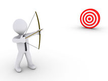 Businessman as an archer aiming at a target. 3d businessman as an archer is aiming at a red target Stock Image