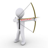Businessman as archer using arrow with success tag. 3d businessman as an archer is ready to shoot arrow with a success tag Royalty Free Stock Photo