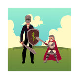 Businessman as knight with helmet, sword, shield, and armor bearer Royalty Free Stock Image