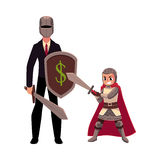 Businessman as knight with helmet, sword, shield, and armor bearer Stock Photo