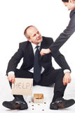 Businessman ask for help. And receive money from businesswoman royalty free stock photos