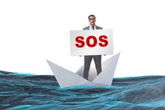 The businessman asking for help with sos message on boat. Businessman asking for help with SOS message on boat Stock Photo