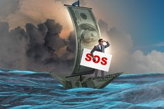 The businessman asking for help with sos message on boat. Businessman asking for help with SOS message on boat Stock Image