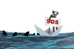 The businessman asking for help with sos message on boat. Businessman asking for help with SOS message on boat Stock Photos