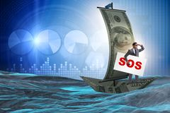 The businessman asking for help with sos message on boat. Businessman asking for help with SOS message on boat Royalty Free Stock Photo