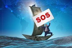 The businessman asking for help with sos message on boat. Businessman asking for help with SOS message on boat royalty free stock image