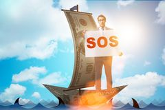 The businessman asking for help with sos message on boat. Businessman asking for help with SOS message on boat Stock Photography