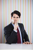Businessman asking for silence Stock Photography