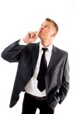 Businessman asking to keep silent Royalty Free Stock Photo