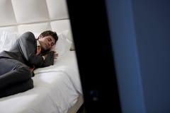 Businessman Asleep In Bedroom Royalty Free Stock Images