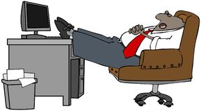 Businessman asleep at his desk stock illustration