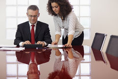 Businessman and assistant with tablet pc Stock Photos