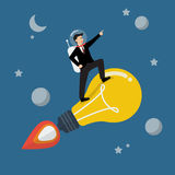 Businessman astronaut on a moving lightbulb idea rocket Royalty Free Stock Photography