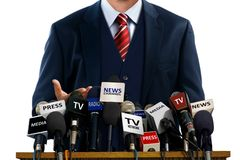 Free Businessman At Press Conference Royalty Free Stock Photos - 48238678