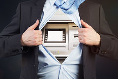 Businessman with ATM instead of body Stock Photos