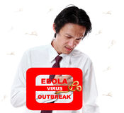 Businessman attack virus ebola outbreak on white background. Businessman attack virus ebola outbreak on white background Royalty Free Stock Photos