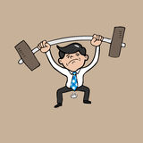 Businessman attempt weight lifting Royalty Free Stock Photography