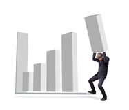 Businessman is attempted by carry graph to increase from Stock Photography