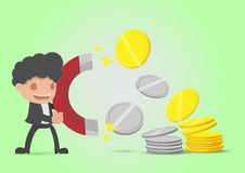 Businessman Attracts Money Coin Gold Silver Vector stock illustration