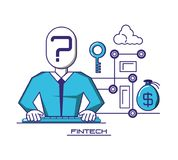 Businessman avatar with financial technology icons. Vector illustration design Stock Photography