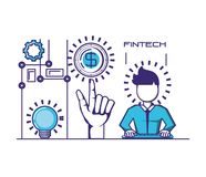 Businessman avatar with financial technology icons. Vector illustration design Royalty Free Stock Photos