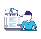 Businessman avatar with financial technology icons. Vector illustration design Royalty Free Stock Images