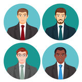Businessman avatar four pictures vector set on white. Royalty Free Stock Photo