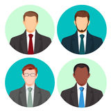 Businessman avatar four pictures vector set on white. Stock Photography