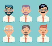 Businessman Avatars Retro Cartoon Characters Design Vector Illustration Royalty Free Stock Images