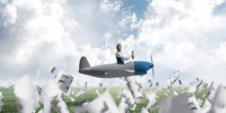Businessman in aviator hat driving plane stock illustration