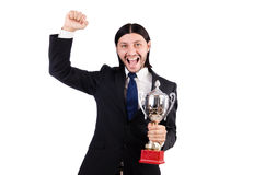Businessman awarded with prize cup Stock Photo