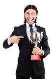 Businessman awarded with prize cup Stock Image