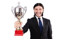 Businessman awarded with prize cup. Isolated on white royalty free stock images