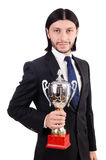 Businessman awarded with prize cup Stock Images