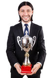 Businessman awarded with prize cup Royalty Free Stock Photos