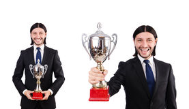 The businessman awarded with prize cup isolated on white. Businessman awarded with prize cup isolated on white stock photo