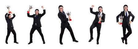 The businessman awarded with prize cup isolated on white. Businessman awarded with prize cup isolated on white royalty free stock photos