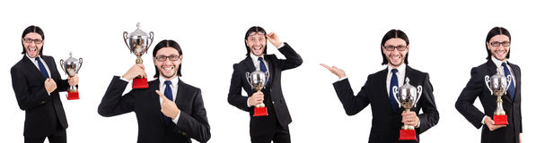 The businessman awarded with prize cup isolated on white Stock Photo