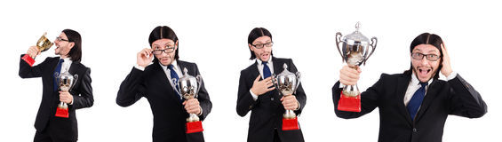 The businessman awarded with prize cup isolated on white. Businessman awarded with prize cup isolated on white stock photography