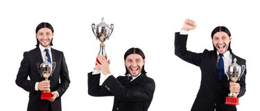 The businessman awarded with prize cup isolated on white. Businessman awarded with prize cup isolated on white royalty free stock photography
