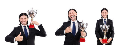 The businessman awarded with prize cup isolated on white. Businessman awarded with prize cup isolated on white royalty free stock photo