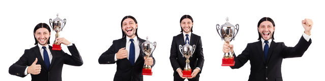 The businessman awarded with prize cup isolated on white. Businessman awarded with prize cup isolated on white royalty free stock images