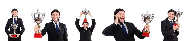 The businessman awarded with prize cup isolated on white Stock Photography