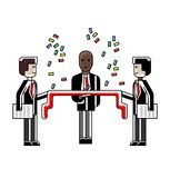 Businessman awarding ceremony with red ribbon. Black businessman awarding ceremony with red ribbon and confetti. Corporate business people isolated vector Stock Images
