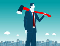 Businessman with axe on shoulder. Concept business illustration. Vector flat Stock Photography