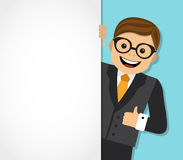 Businessman and background with space for text. Businessman looks out from behind a white background and shows an unfilled hand vector illustration