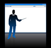 Businessman on background with web browser blank page Royalty Free Stock Photos