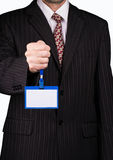 Businessman and badge Stock Photography